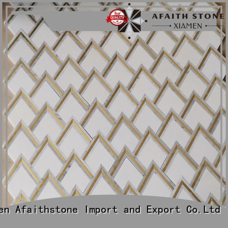 Afaithstone acid resistant waterjet marble tile directly sale for plaza