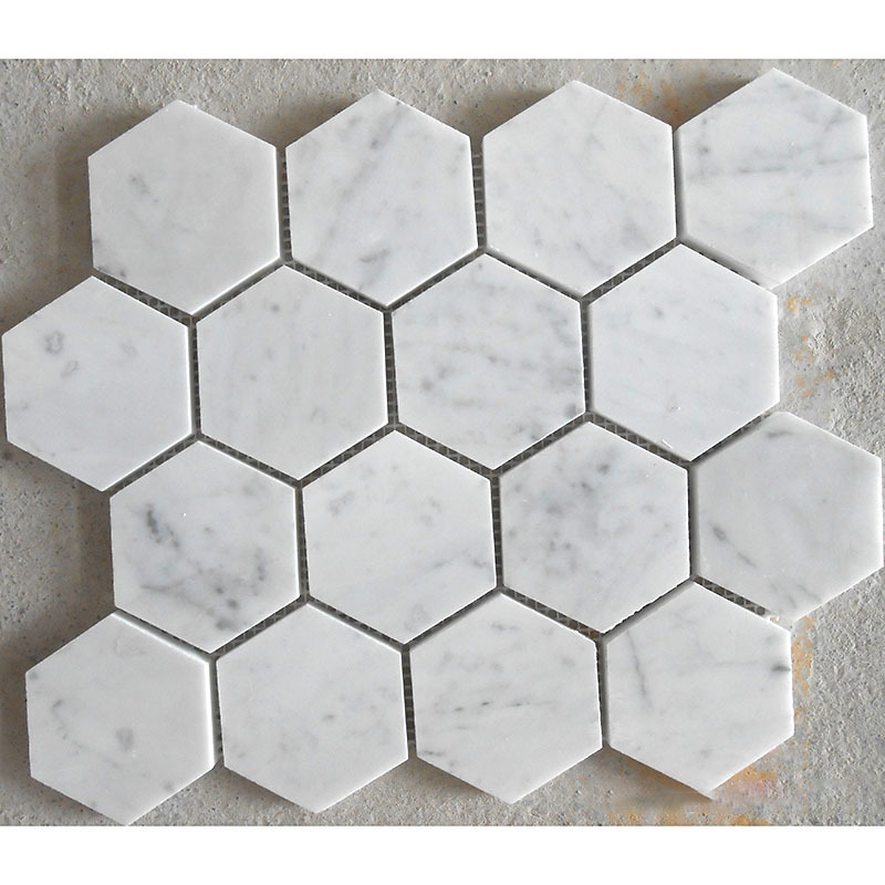 Hexagon 70mm/Hexagon 3Inch in White Carrara