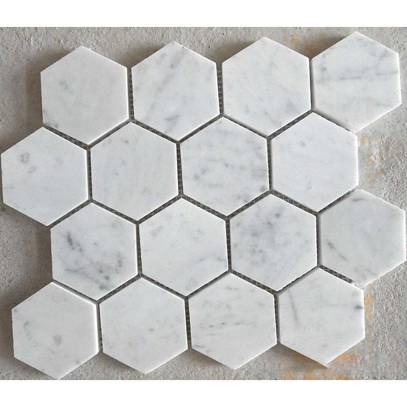 Hexagon 70mm/Hexagon 3Inch in White Carrara