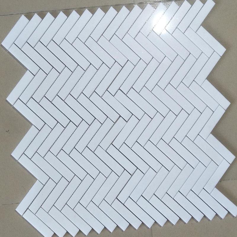 Herringbone Mosaic Tile,Thassos White