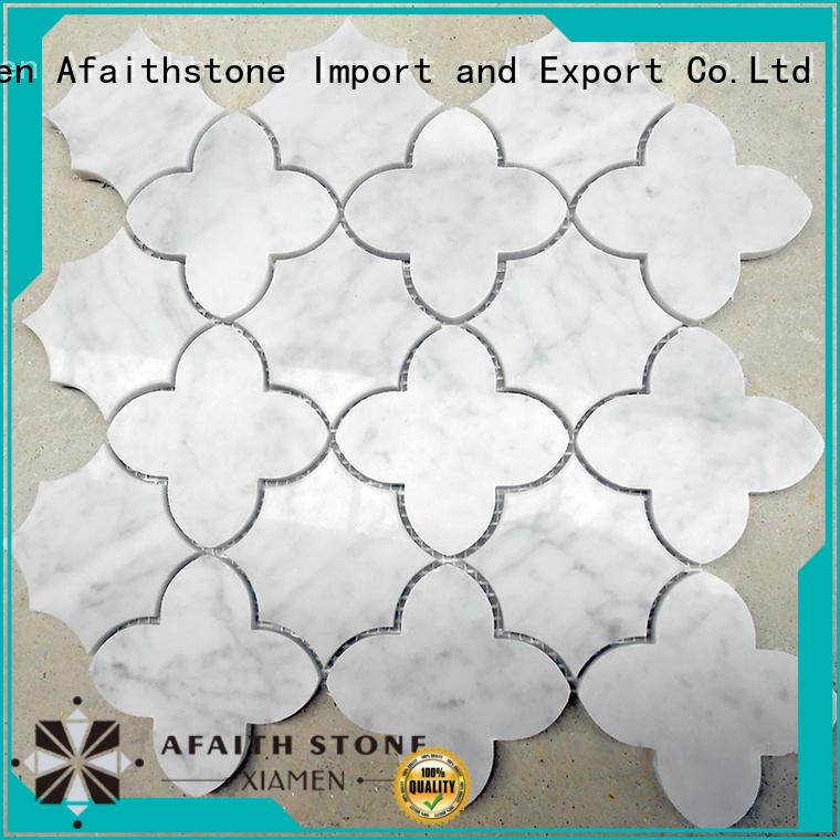 Afaithstone waterjet marble tile free sample for plaza